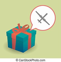 Present with a war drone - Illustration of a present with a...