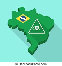 Long shadow map of Brazil with an all seeing eye -...