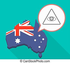 Long shadow map of Australia with an all seeing eye -...