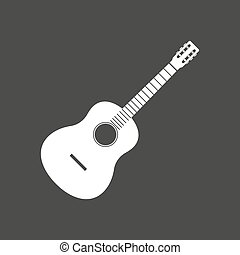 Isolated vector illustration of a six string guitar -...