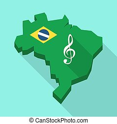 Long shadow map of Brazil with a g clef - Illustration of a...