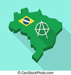 Long shadow map of Brazil with an anarchy sign -...
