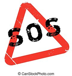 Sos rubber stamp. Grunge design with dust scratches. Effects...