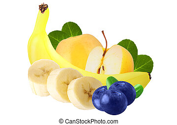 Pile of various fresh fruits over white background, with...