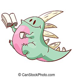 Cute dinosaur or dragon - Colorful vector illustration of a...