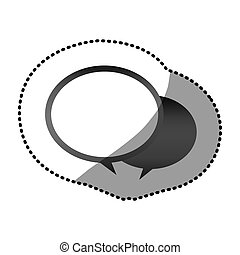 grayscale round chat bubbles icon, vector illustraction...