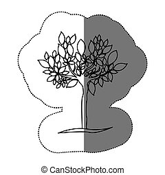 contour tree with many leaves icon