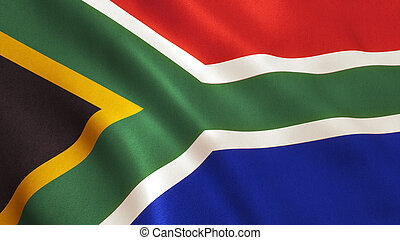 South Africa Flag - South Africa flag background with fabric...