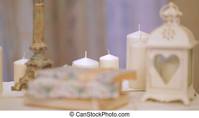 Beautiful decoration of the hall with candles