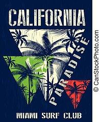 California miami summer t shirt graphic design
