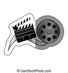 sticker with cinematography movie video film tap and clapperboard