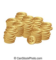 color silhouette with stacked coins