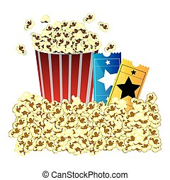 color background with butter popcorn container and movie tickets