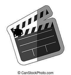 grayscale sticker with clapperboard cinema vector...
