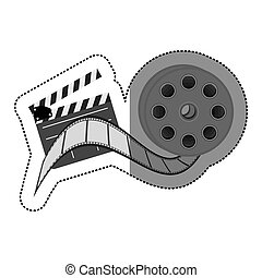 grayscale sticker with cinematography movie video film tap and clapperboard