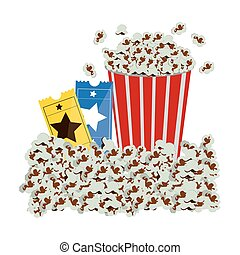 color background with popcorn container and movie tickets