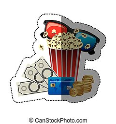 colorful sticker with popcorn cup and glasses 3D with movie tickets and credit card