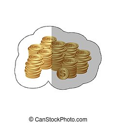 color silhouette sticker of stacked coins