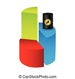 colorful silhouette with statistics graphs with stable oil price