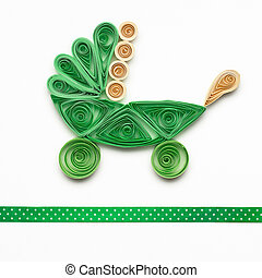 Children carriage. - Creative photo of quilling go cart made...