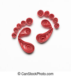 Happy Birthday. - Creative concept photo of quilling feet...