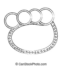 monochrome sketch of oval speech with four circles in top side