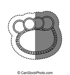 monochrome sticker of oval speech with four circles in top side