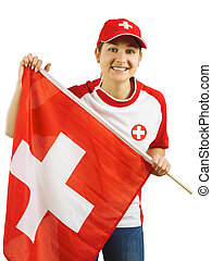 Cheering for Swiss sports team