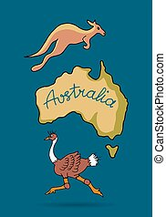 Australia continent in doodle style, ostrich and kangaroo,...