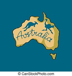 Australia continent in doodle style, vector illustration for...