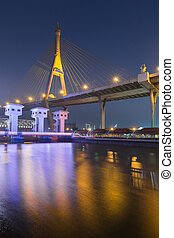 Nigh view over Rama Suspension bridge river front, Bangkok...