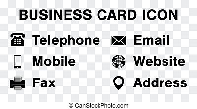 black icon vector set for business namecard