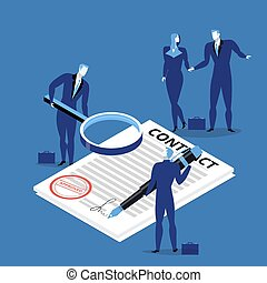 Vector illustration of business people signing contract.