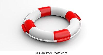 Life buoy on white background. 3d illustration - Life buoy...
