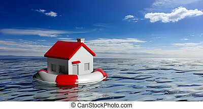 Life buoy and a small house on blue sea background. 3d...