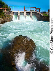 Hydroelectric power plant generates electricity....