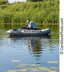 gomma, pescatore, barca