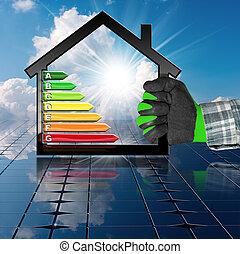 家, エネルギー,  -, 効率, 太陽, パネル