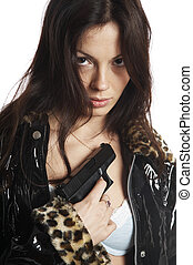 The beautiful girl with a pistol