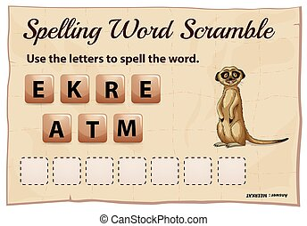Spelling word scramble game with word meerkat illustration