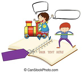 Blank notebook with two boys and train background