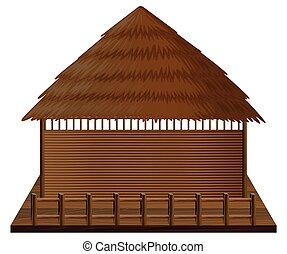 Wooden hut on woodn raft illustration