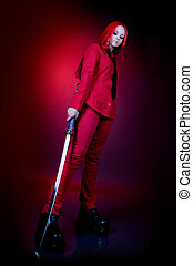 very sad - Girl in a red suit with a Japanese sword very sad...