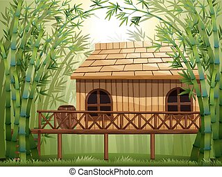 Wooden cabin in bamboo forest illustration