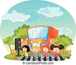 Children crossing the road in front of school