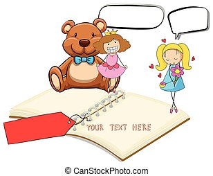 Blank notebook with two girls and teddybear background...