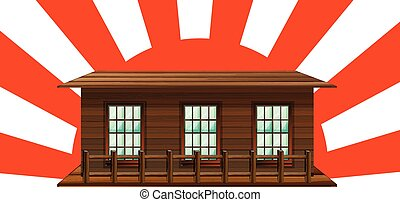 Wooden house with sun in background