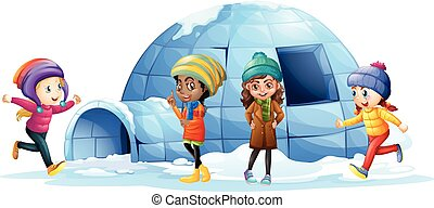 Children playing around igloo illustration