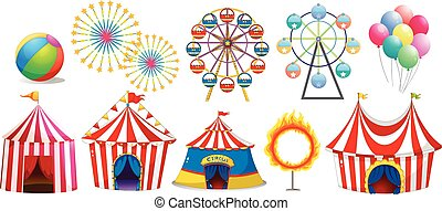 Circus tents and ferris wheels illustration