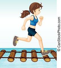 Girl running on wooden log bridge illustration